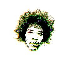 Psychedelic guitar god Photographic Print