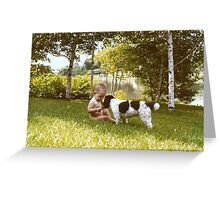 Baby and dog, by Lake Tranquility, New Jersey, USA. Greeting Card