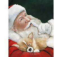 Pembroke Welsh Corgi and Santa Claus Photographic Print