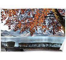 Lake and Golden Leaves Poster