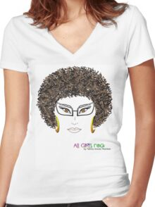 ALL GIRLS ROCK Women's Fitted V-Neck T-Shirt