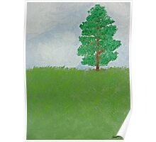 Tree on Hill - First Oil Painting Poster