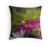 Flowers in the Rain Throw Pillow