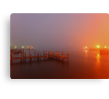 foggy harbour Canvas Print