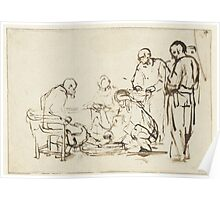 Drawing - The Washing of the Feet, Rembrandt Harmensz. van Rijn, 1640 - 1649  Poster