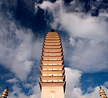 Three Pagodas - Dali, China by Alex Zuccarelli