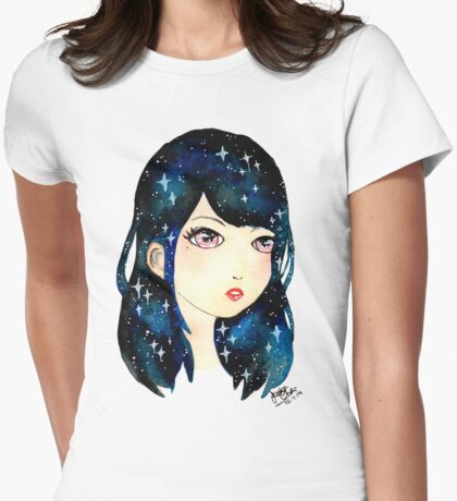 Starry-eyed in space  Womens Fitted T-Shirt