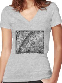 Flammarion Engraving Transparent Women's Fitted V-Neck T-Shirt