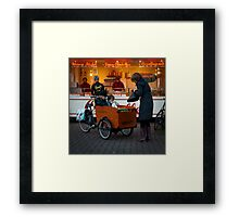 In the 'bakfiets' to the 'oliebollenkraam' Framed Print