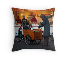 In the 'bakfiets' to the 'oliebollenkraam' Throw Pillow