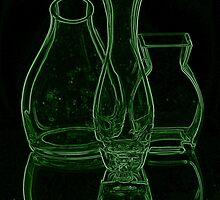 GREEN GLASS VASE by Rexcharles