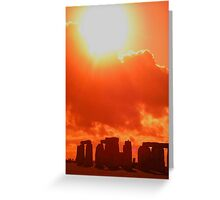Orange Stonehenge, United Kingdom Greeting Card
