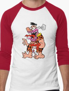 Freaked Out Flintstone Men's Baseball ¾ T-Shirt
