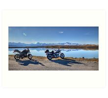 My Bikes, Tekapo B Headpond and Aoraki Mount Cook Art Print