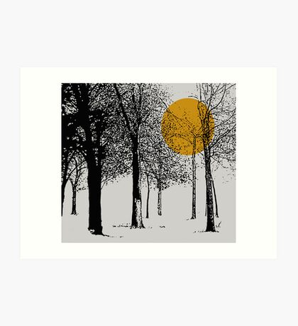 Black trees silhoutte with orange moon Art Print