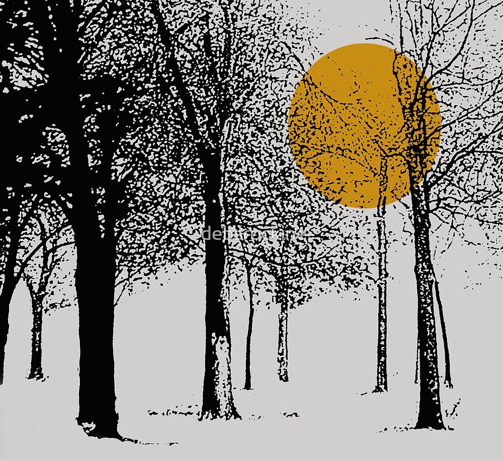 Black trees silhoutte with orange moon by debsrockine