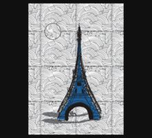 Eiffel Tower Blue Swing   Kids Tee