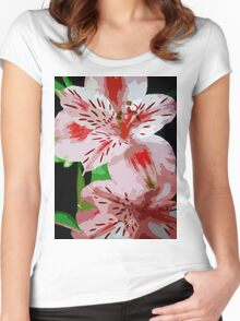 Red and white flowers. Women's Fitted Scoop T-Shirt
