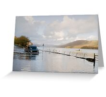 A Land Rover and canoe share the water at Coniston. Greeting Card