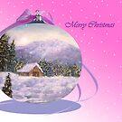 Pink Christmas Card by Ilunia Felczer