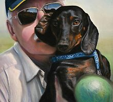 """Self Portrait - """"Dad"""" with Dexter by Tom Godfrey"""