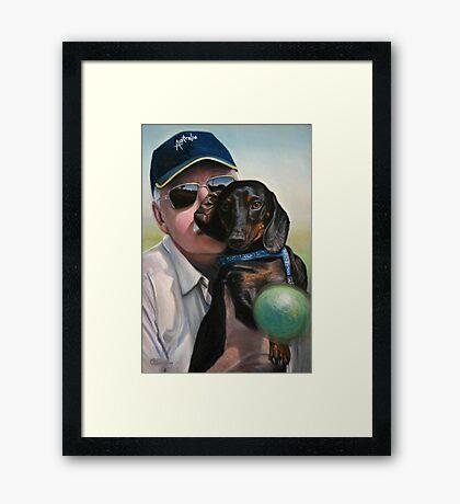 "Self Portrait - ""Dad"" with Dexter Framed Print"