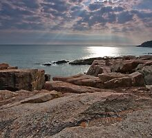Sun streaming through clouds, Acadia National Park by Denise Goldberg