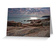 Sun streaming through clouds, Acadia National Park Greeting Card