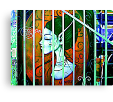 Her Behind Bars Canvas Print