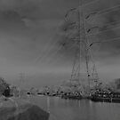 Pylon, on canal Urban  landscape  solarised. by Streetpages