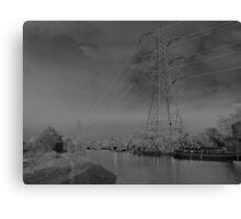 Pylon, on canal Urban  landscape  solarised. Canvas Print