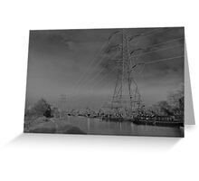 Pylon, on canal Urban  landscape  solarised. Greeting Card