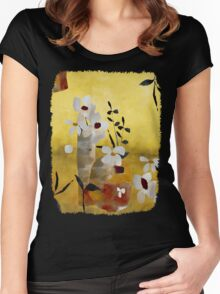White Floral Collage II T-Shirt Women's Fitted Scoop T-Shirt