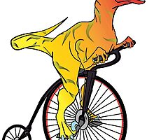 Dinosaur Riding a Penny Farthing by NeoNephilim