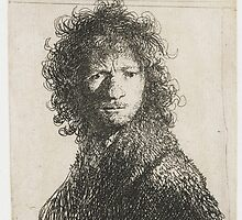Drawing - Self Portrait, Frowning - Bust, Rembrandt Harmensz. van Rijn, 1630  by wetdryvac