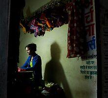 Woman Sewing  by Erdj
