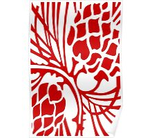 Red and White Abstract Poster