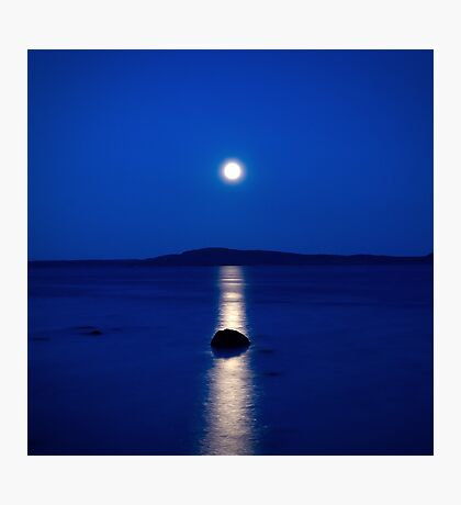 moon reflections on blue Photographic Print