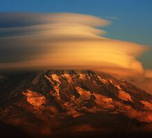 Rainier with clouds by James Duffin
