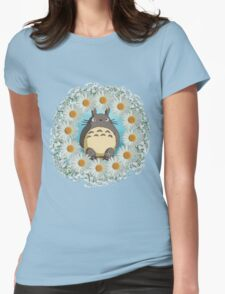 Totoro n Daisies Womens Fitted T-Shirt