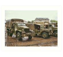 American World War II  Military Trucks Art Print