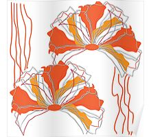 Orange Red Abstract Flower Poster