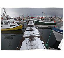 The boat dock in Husavik, Iceland Poster