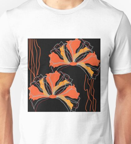 Abstract Black Orange Red Poppy Floral Unisex T-Shirt