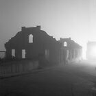 Fort in Fog, Alcatraz, CA by Ann Marie Donahue