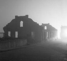 Fort in Fog, Alcatraz, CA by Ann Marie Donahue