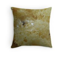 Water on Creamy Cauliflower Foliage Throw Pillow