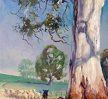Gum Tree Lane - Australian Kelpie Series by Pieter  Zaadstra