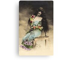Vintage *Flower Belle in the Clouds* Canvas Print