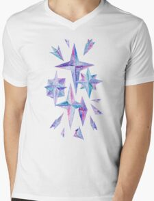 Watercolor Ice Wind Rose Crystals Mens V-Neck T-Shirt